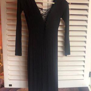 Black Bodycon Midi Strappy Dress